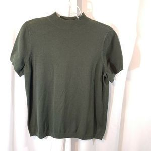 Avenue plus 18 20 olive green s/s sweater mock nec
